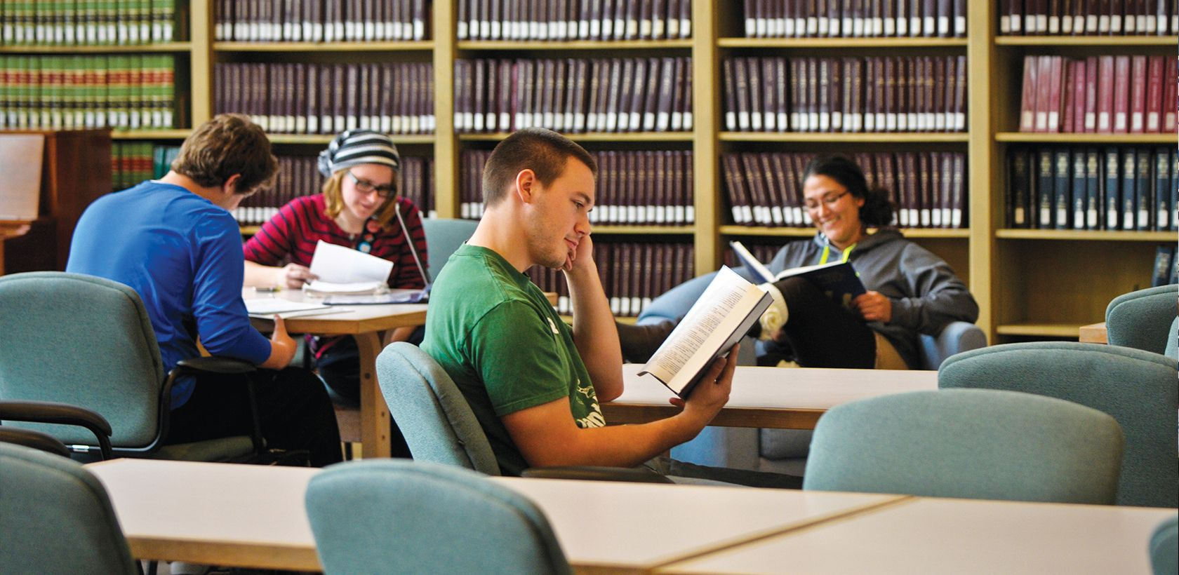 Image of Liberal Arts students studying in Archbishop Alter Library at Mount St. Joseph University